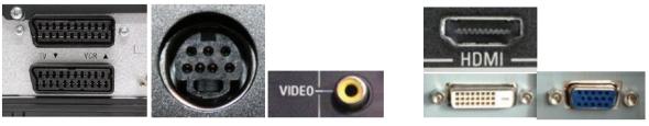Scart, S-Video, RCA video, VGA