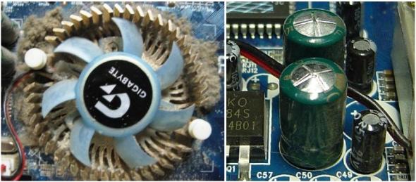 Загрязнение вентилятора и вздутые конденсаторы
