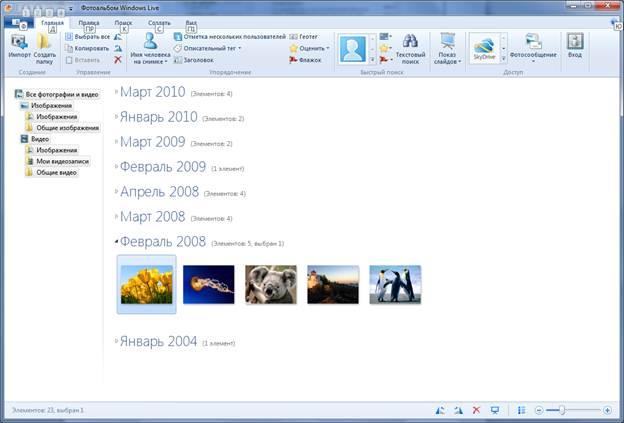 Фотоальбом Windows Live 2011